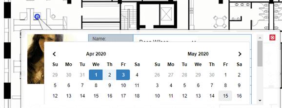Hot desk booking on a floor plan