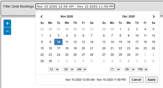 Show desk availability by setting a custom date range.