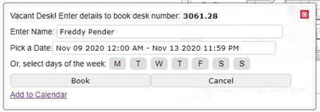 Add a desk booking event to an Outlook Calendar